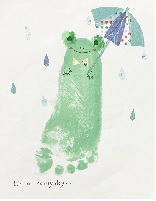 ママサロンでかんたん工作タイム「雨でも元気!カエルの足形アート」